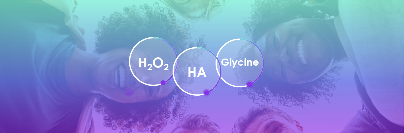 Association of hyaluronic acid, hydrogen peroxide and glycine