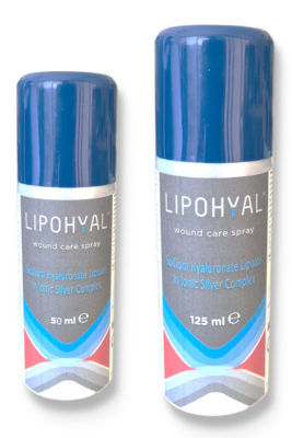 close-up picture of 50ml and 125ml spray bottles of Lipohyal silver spray