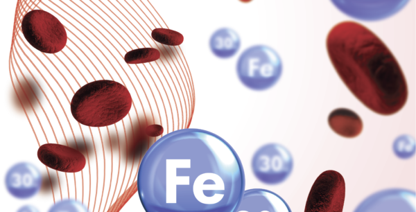 anemia - graphic design showing iron molecules in the blood stream